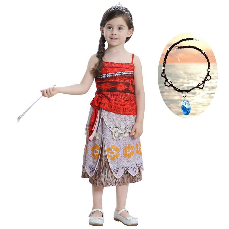 Moana Costume Outfit Dresses Dress Up Skirt Set For Girl Kids 2-Piece Outfit Cosplay Camisole Dresses Pendant