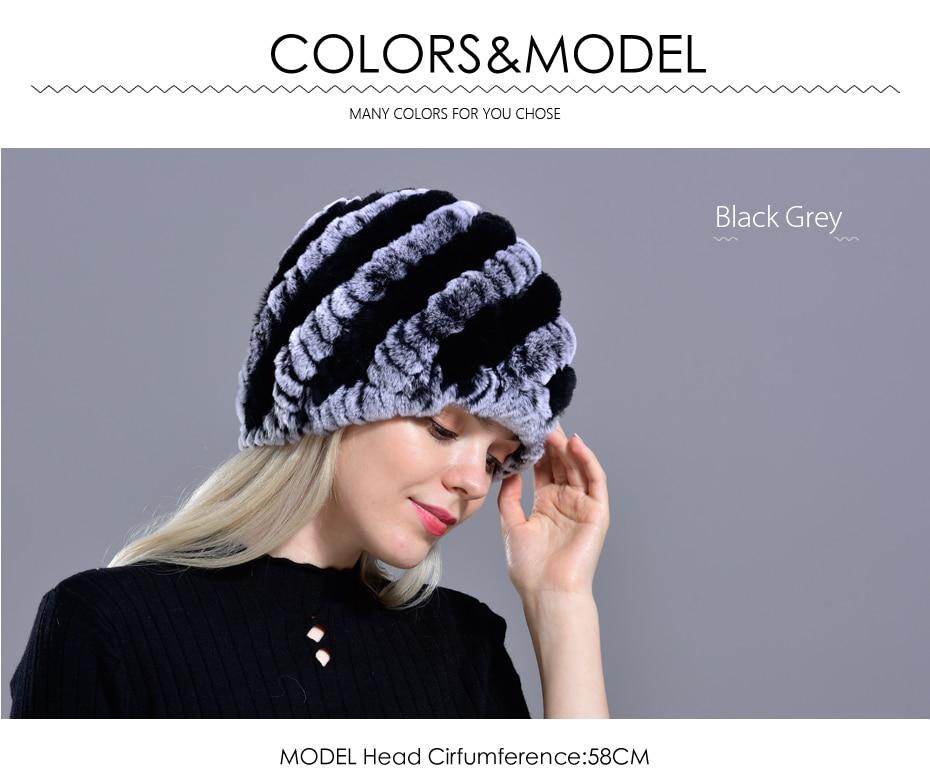 Raglaido Rabbit winter fur hat for Women Russian Real Fur Knitted Cap headgea Winter Warm Beanie Hats 2019 fashion brand LQ11279 20
