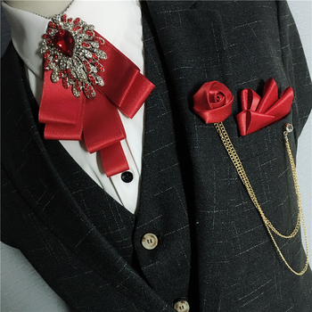 Men Ribbon Bow Tie Handkerchief Alloy Chain Flower Brooch Pocket Square Neck Tie Set Groom Wedding Party Shirt Rhinestone Bowtie plus size bowtie tie dye handkerchief t shirt