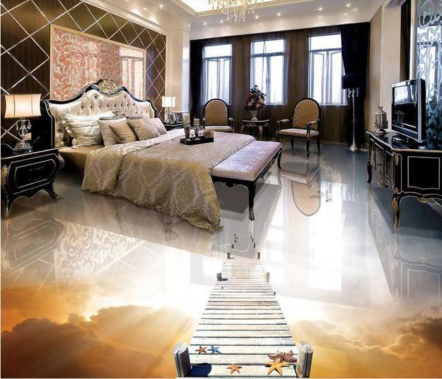 Custom Pvc Vinyl Flooring Wooden Bridge With Pigeons 3d Wallpapers For Living Room Floor