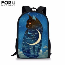 FROUDESIGNS Cartoon Animal Moon Cat Printing School Bags for Boy Girls Kids Blue 16 inch Backpack Teenagers Student Book Bag 16 inch animal 3d backpack boy kids student large school bag bad dog cat dinosaur lion tiger horse panda printing mochila