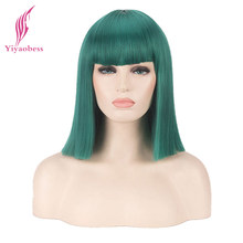 Yiyaobess Synthetic Medium Straight Green Black Red Pink Blue White Blonde Purple Brown Silver Bob Universal Cosplay Wig(China)