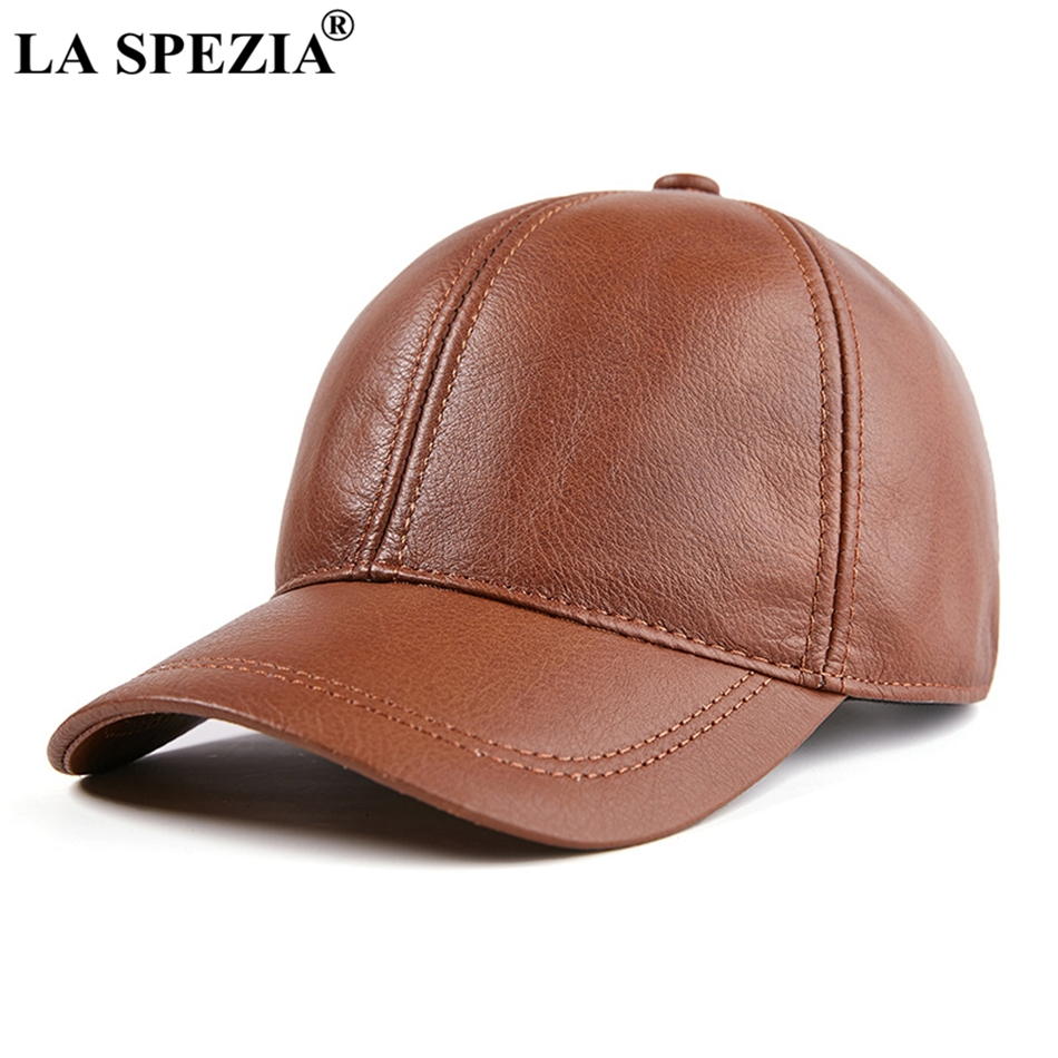 6373d938610 LA SPEZIA Mens Baseball Cap Genuine Leather Snapback Caps Brown Adjustable Dad  Hat Duckbill Male Autumn Baseball Hat Black 2019
