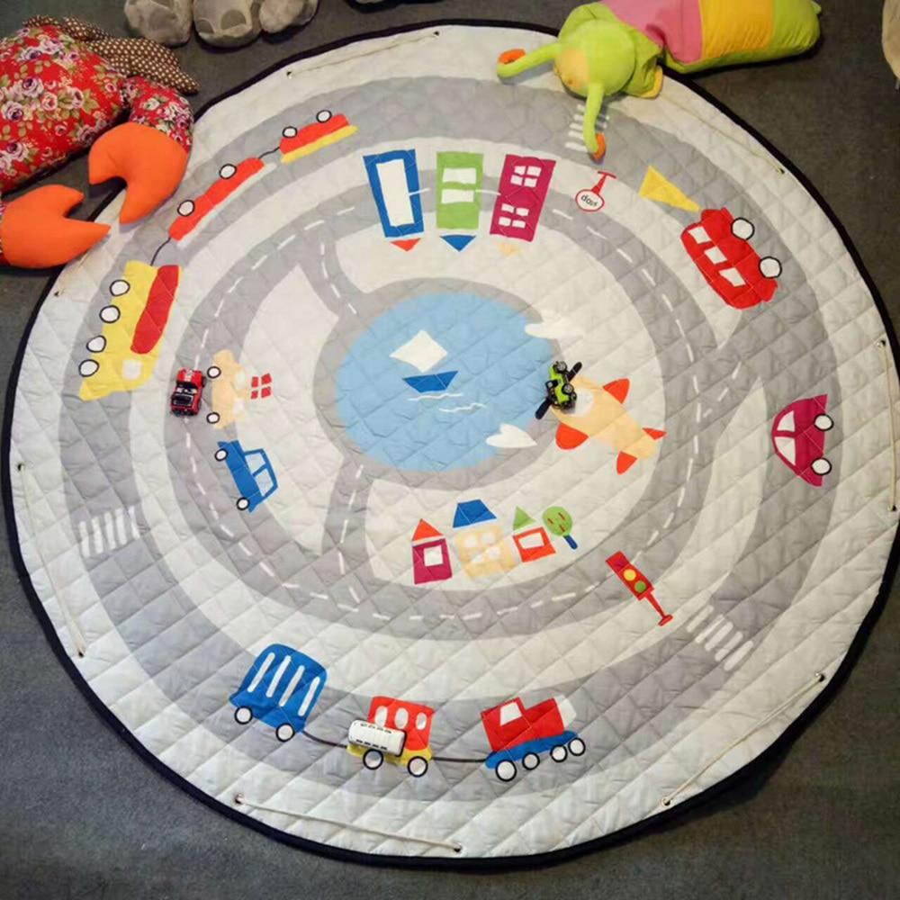 Cartoon Round Infant Crawling Mat Children Toys Storage Bag Baby Kids Floor Play Mat Drawstring Toy Storage Organizer