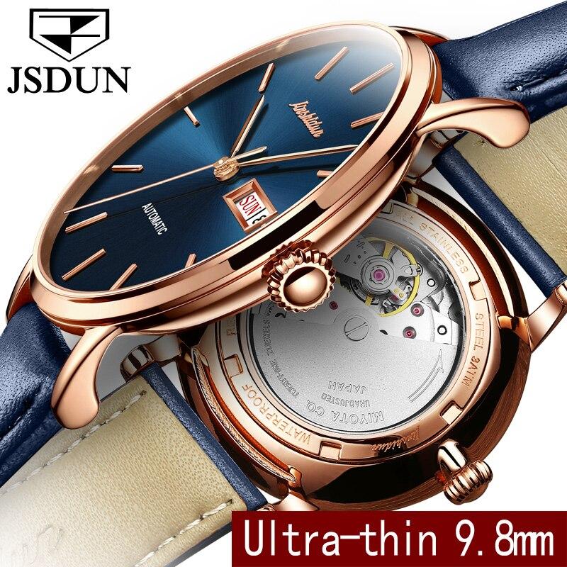 Jsdun простой Деловые часы Для мужчин Бизнес часы Топ бренд кожаный ремешок мужской часы Авто Дата Неделя Автоматическая наручные часы 8812 P ...