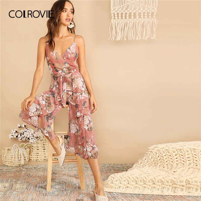 COLROVIE Pink V Neck Botanical Ruffle Belted Wrap Boho Cami   Jumpsuit   Romper Women 2019 Summer Holiday Wide Leg Girly   Jumpsuits
