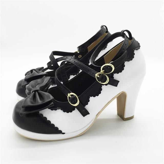 Lolita Girl Bowtie Cross Straps Shoes