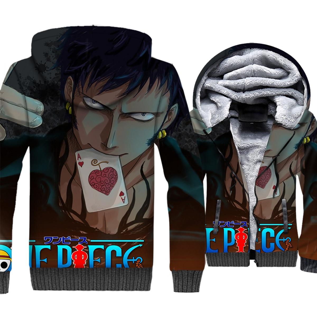 Anime One Piece Luffy Print 3D Hooded 2019 Hot Winter Warm Men Jackets Thick Warm Fleece Hoodies Plus Size Men's Tracksuit M-5XL