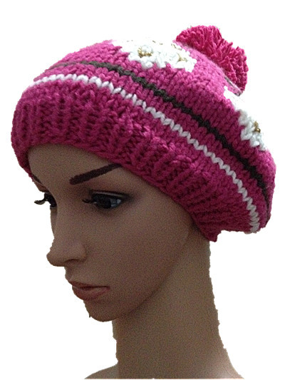 BomHCS Winter Rose Strawberry Flower Hat Handmade Knitted Hat Women Warm Cap Beanies Hats юбка strawberry witch lolita sk