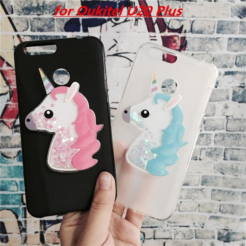 Galleria fotografica 3D Unicorn Quicksand Liquid Soft Silicone Case for Oukitel U20 Plus Phone Cover Cartoon Diamond Funda Coque Fashion Para