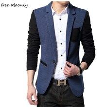 ДИ MOONLY Новый Slim Fit Случайные куртки Хлопка Мужчины Blazer куртка Одной Кнопки Мужская Серый Пиджак Лоскутная Пальто Мужской люкс(China (Mainland))