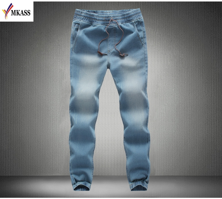 2017 New Autumn Jeans Men Brand Clothing Solid Color Thin Pencil Denim Pants Male Top Quality Stretch Trousers Size M-5XL