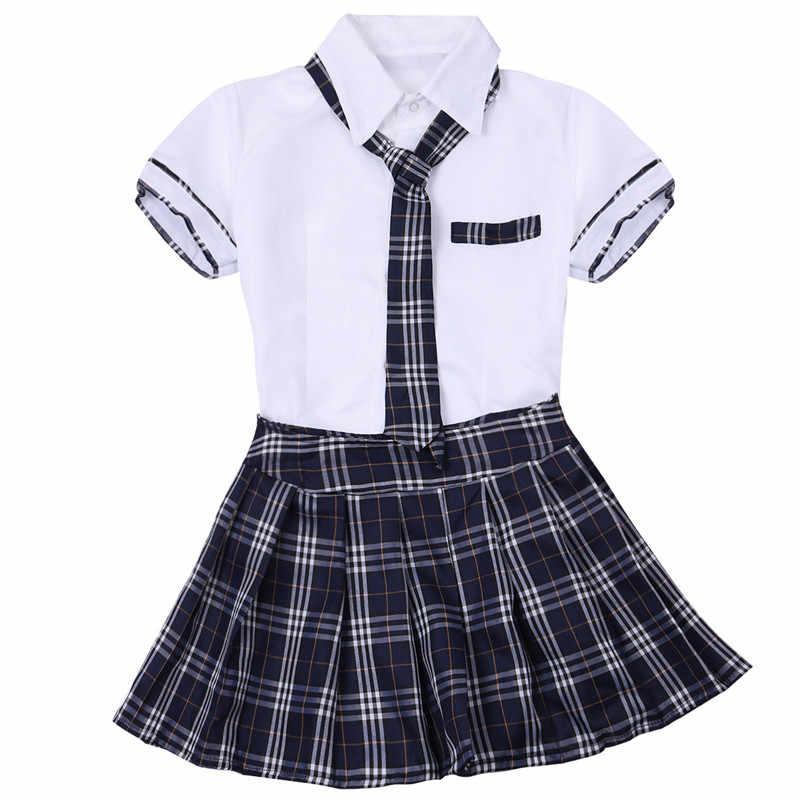 06671460df ... 3Pcs Women Cosplay Costume Girls High School Uniform Cosplay Women  Roleplay Dress Short Sleeve Shirt with ...