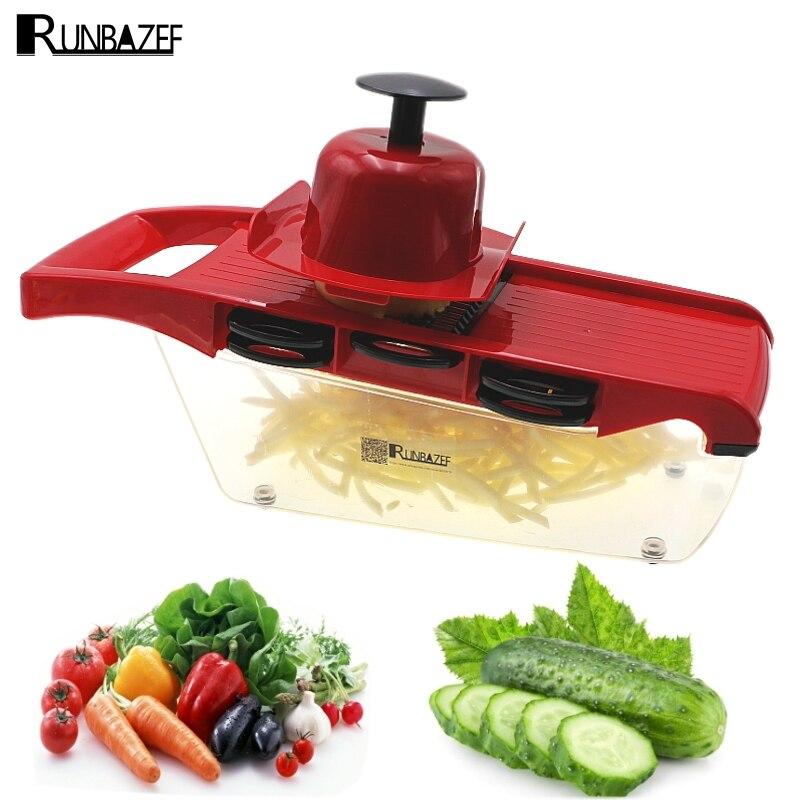RUNBAZEF Multifunctional Kitchen Tools Mandoline With 6 Interchangeable Stainless Steel Blades Vegetable Slicer Cutter Peeler