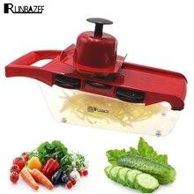 RUNBAZEF Multifunktionale Küche Werkzeuge Mandoline Mit 6 Austauschbar Edelstahl Klingen Gemüse Hobel Cutter