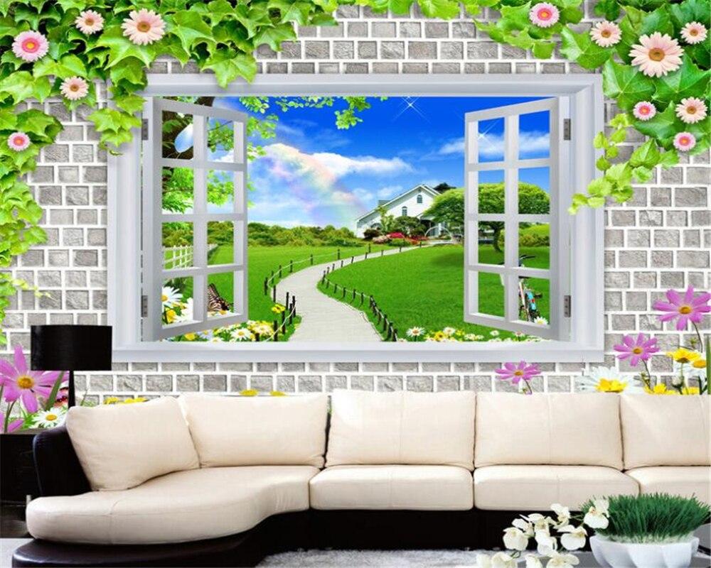 US $8 85 OFF Beibehang Menyesuaikan Setiap Ukuran 3D Wallpaper Di Luar Ruangan Pemandangan Rainbow Bunga Rotan Foto Kertas Dinding Dekorasi Rumah