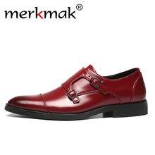 5efcfc2812 Merkmak Trendy mężczyźni sukienka mokasyny duży rozmiar 48 wygodne wsuwane  buty męskie mokasyny metalowa klamra projekt