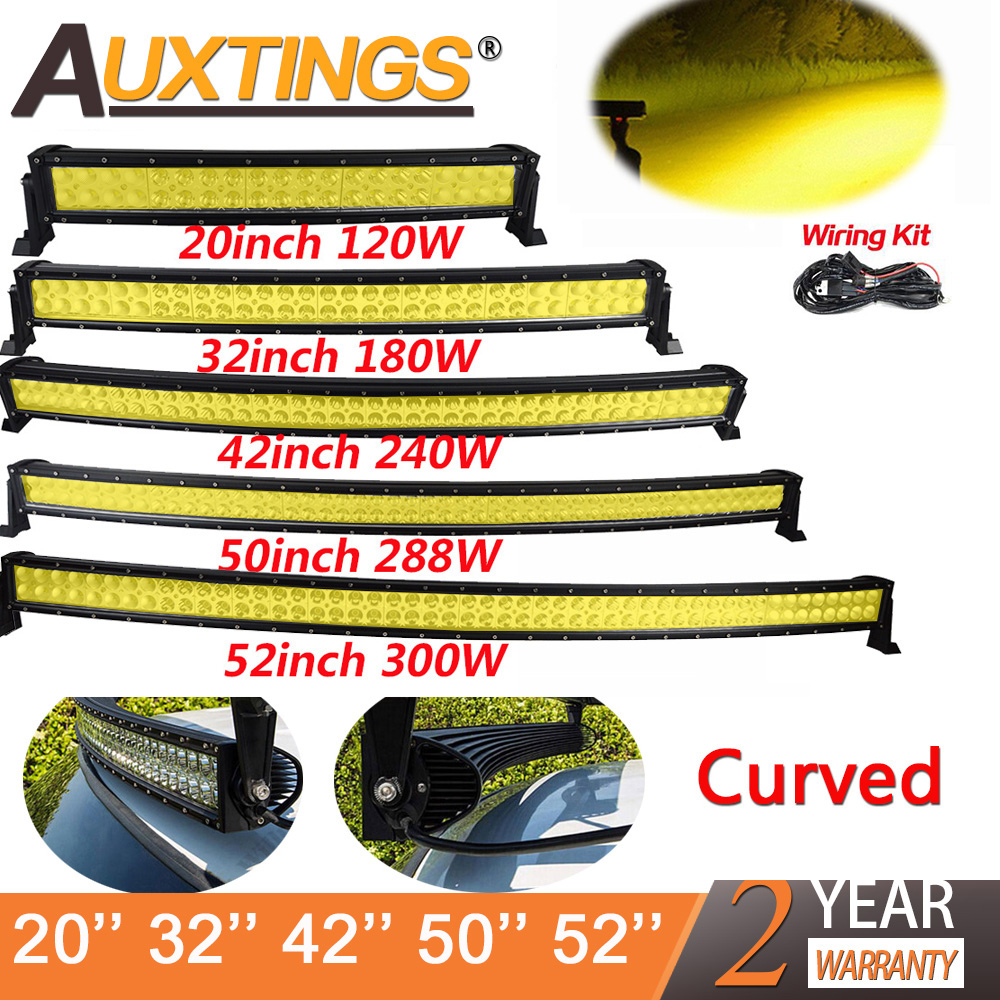 Auxtings 21 32 42 50 52'' Inch Curved Led Light Bar 120W 180W 240W 300W Amber Light Driving Offroad Car Truck 4x4 SUV ATV 12 24V image