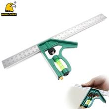 "12 ""/300mm 조합 각도 눈금자 범용 모바일 45/90 ° 눈금자 버블 레벨 기계공 측정 도구"