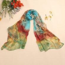 02acb0d87965 Shanghai Histoire soie écharpe wrap châle pour les femmes style long  numérique impression classique floral conception