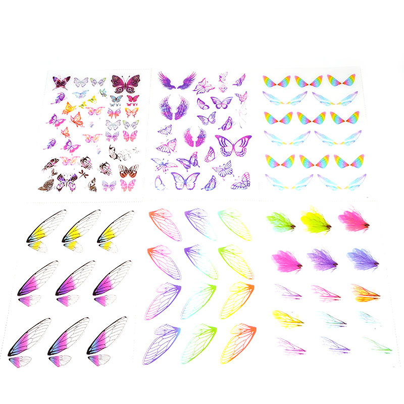 5pc Butterfly Wings Colorful Plastic Stickers Epoxy Transparent  Filling Epoxy Stickers Decorative With Use Of Mold DIY Jewelry