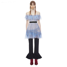 Auto Retrato Estilo mulher vestido azul de renda nova primavera pista barra do pescoço manga curta fora do ombro mini vestidos de renda vestidos