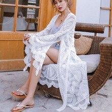 2019 Women Romantic Chiffon Kimono Summer Lace Beach Holiday Cardigan Wrap Long flare sleeve embroidery Blouse stylish flare sleeve collarless long chiffon blouse for women