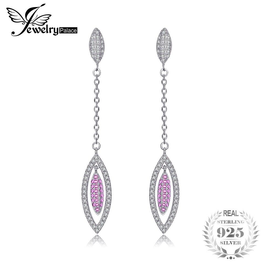 Jewelrypalace модные 0.2ct создано розовый сапфир серьги из натуральной 925 серебро ювелирных украшений для Для женщин длинные серьги