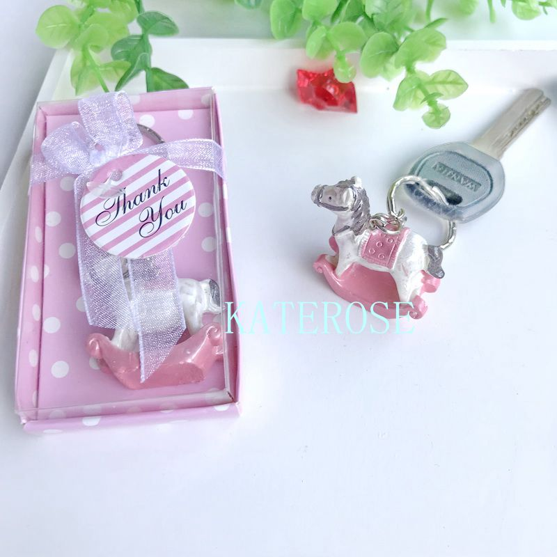 30PCS Baby Girl Shower Favors Gift Pink Rocking Horse Keychain Birthday Party Souvenirs Giveaway For Guest