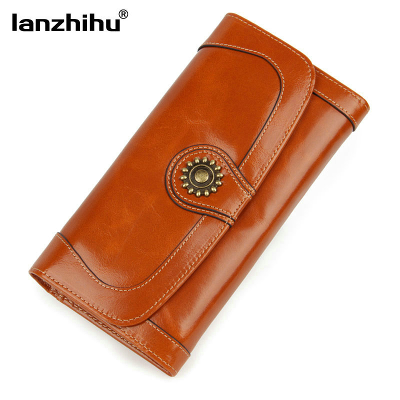 Cowhide Wallet Female Genuine Leather Vintage Luxury Money Phone Pocket Card Holder Women Wallets Clutch Woman Coin Purse Long 2016 luxury women wallets genuine leather crocodile purses business wallets for woman shinning money cash bag card holder clutch
