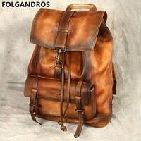 Brand Original Handmade Backpack Italian Imported Calfskin Bag Men's Large Capacity Vintage Genuine Leather Double Shoulder Bag