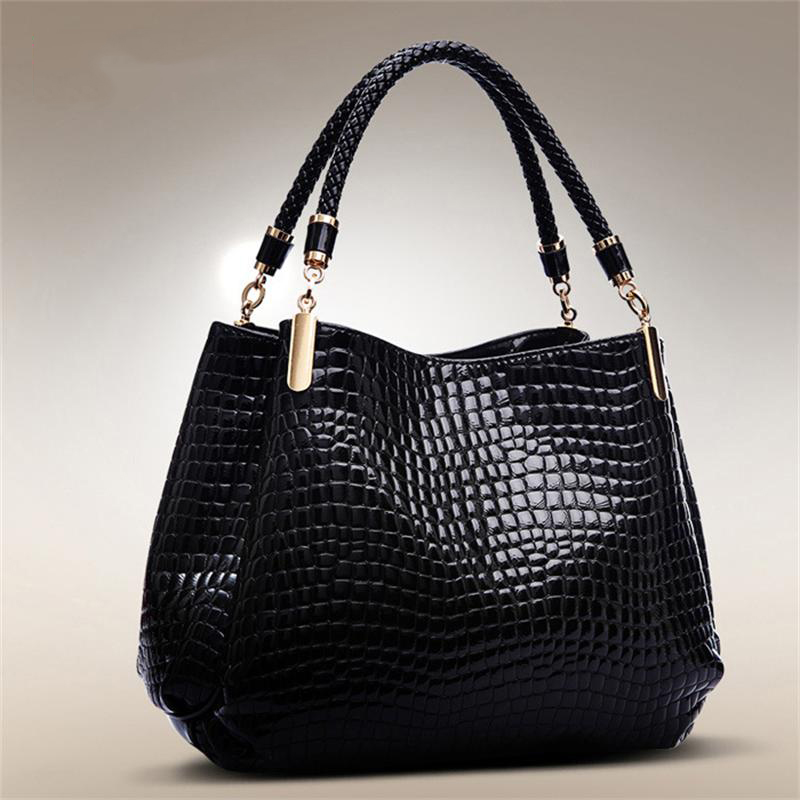 ФОТО Fashion  Women Messenger Bags 2017 Fashion PU Leather Ladies Shoulder Bag Crocodile Top handle Bags Tote Bolsas
