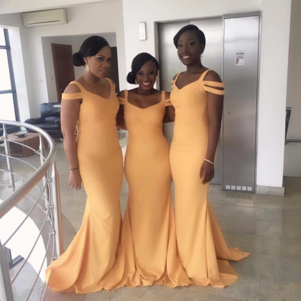 2018 Yellow Mermaid   Bridesmaid     Dresses   V-neck Cap Sleeve Backless Cheap South African Maid of the Honor   Dress   Prom Party Gowns