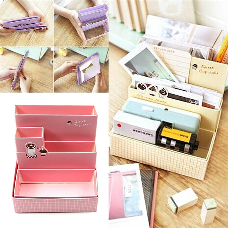 2016 New High Quality Diy Paper Board Storage Box Desk Decor Stationery Makeup Cosmetic Organizer New Pen Holder Stationery Holder Desk Accessories & Organizer