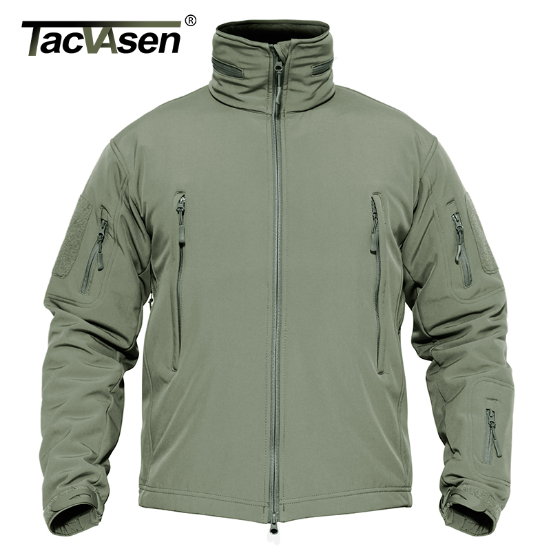 Tacvasen Men Military Jacket Coat Waterproof Tactical Jacket Winter Soft Shell Hunt Jackets Army Removable Hooded Windbreaker #3