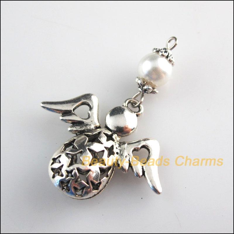5 New Charms Purple Glass Round Beads Angel Pendants Tibetan Silver Tone