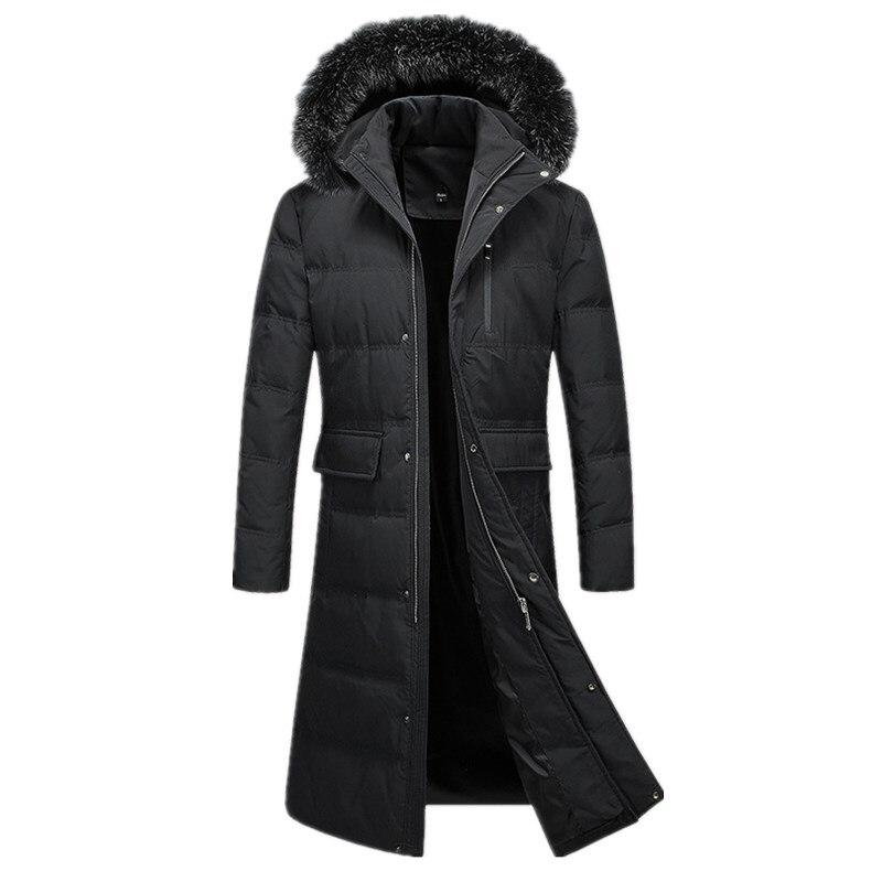 Hommes Vers Le Bas Manteau 2018 Russe Hiver Très Long Down Jacket men Casual Parkas Col De Fourrure À Capuchon Épaissir Chaud Marque vestes