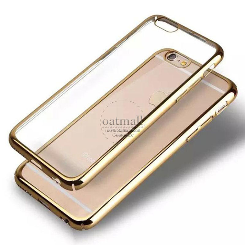 0.3mm Ultra Thin Rose Gold Plating Clear Hard Back Case for Apple iphone 6 6S Transparent Hybrid Cover Armor Mobile Phone Bags