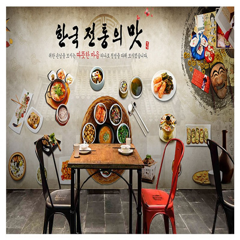 wallpaper 3d Korean cuisine restaurant kimchi hot pot restaurant fried chicken shop wallpaper retro diet food graffiti mural image