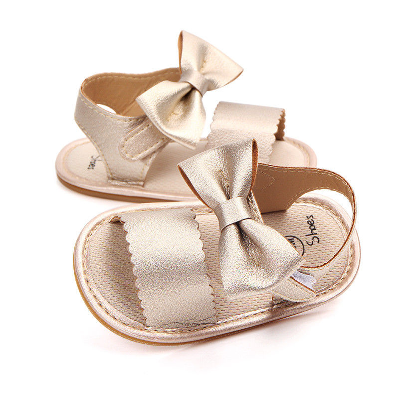2018 Brand New Cute Newborn Infant Baby Girls Bowknot Princess Shoes Toddler Summer Sandals PU Non-slip Rubber ShoesSize 0-18M 3