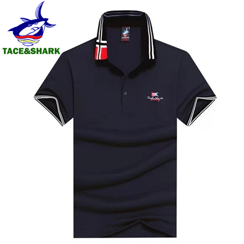 TACE&SHARK Brand Fashion Men   Polo   Shirt Men Camisa Masculina Cotton Business Shark Men   Polos   Clothes Homme Plus Size 3XL 2018