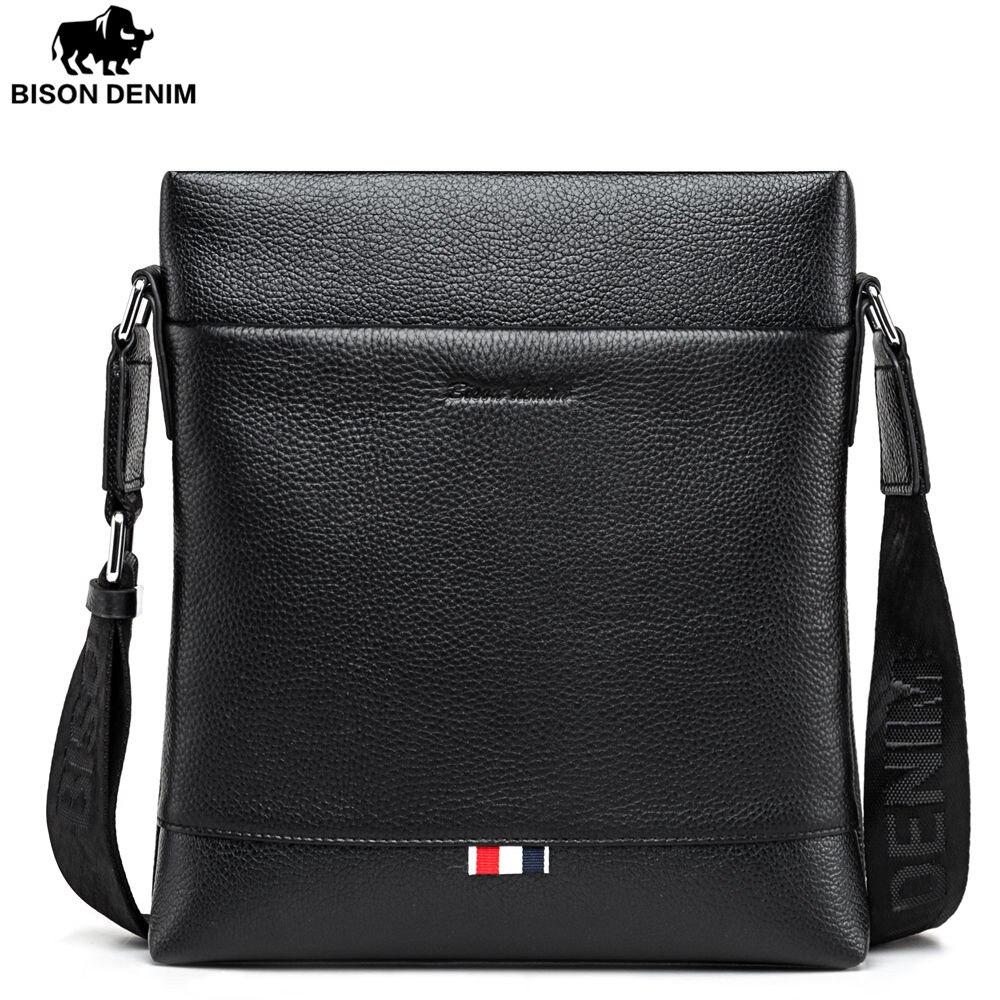BISON DENIM fashion brand men bag genuine leather business casual one shoulder crossbody men messenger bags