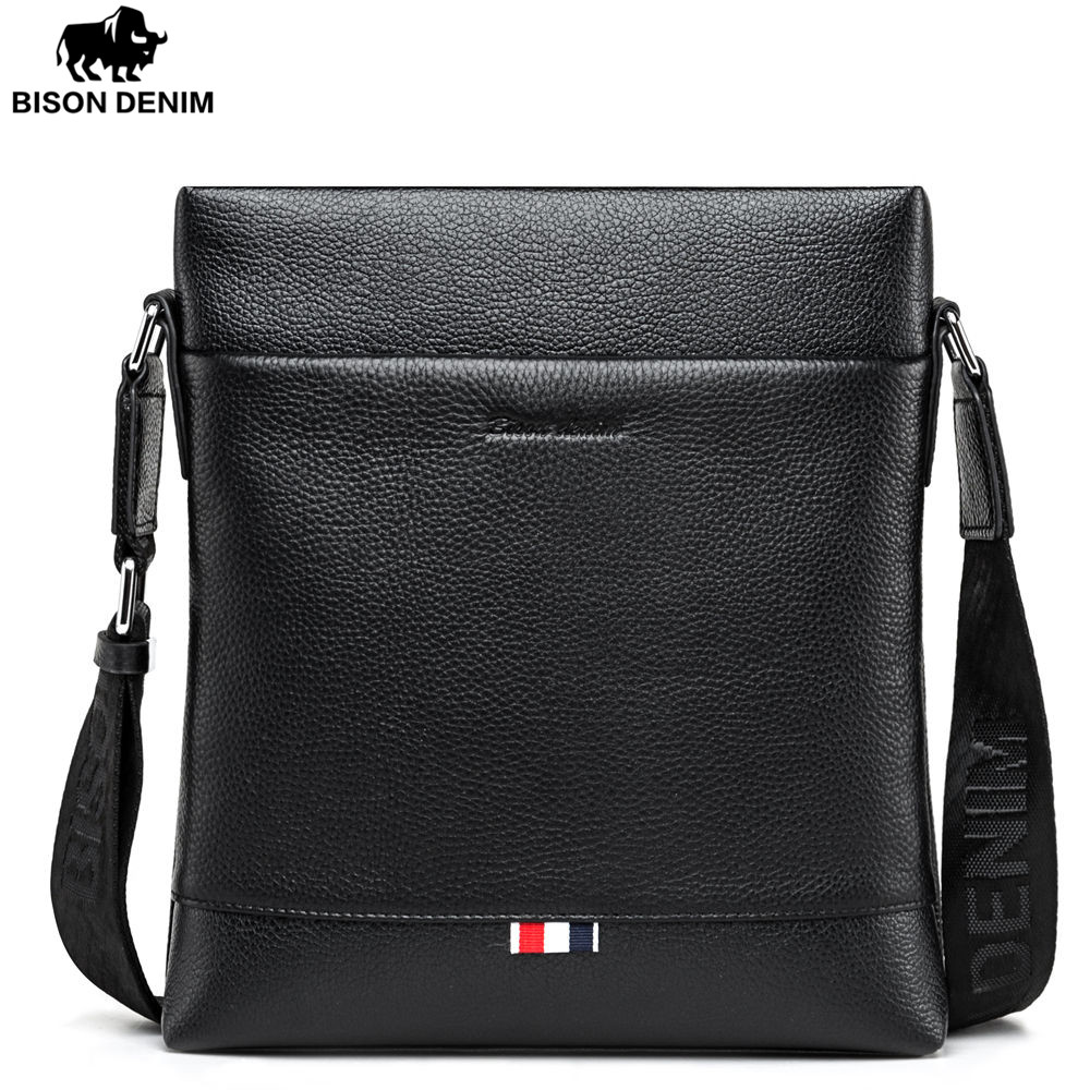 BISON DENIM fashion brand men bag genuine leather business casual one shoulder crossbody men messenger bags brand designer genuine leather bag fashion shoulder crossbody bags business briefcase casual men handbags