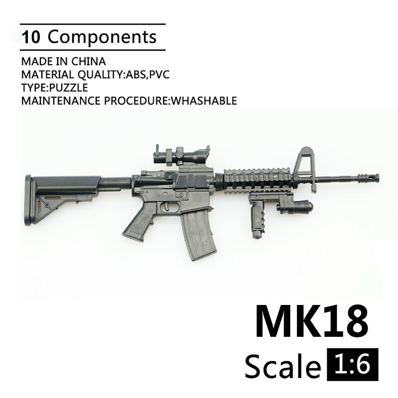 1:6 MK18 Carbine Assault Rifle Gun Plastic Assembled Firearm Puzzle Model For 1/6 Soldiers Military Weapons Building Blocks