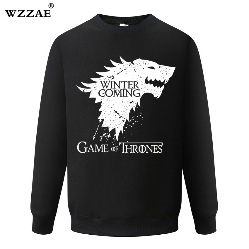 Cotton Blend Game of Thrones Men Sweatshirts Casual Winter is Coming House of Stark Men Hoodies Sweatshirt 2018 New Arrive