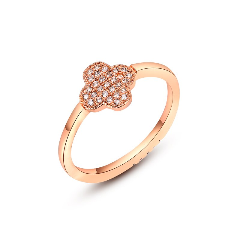 ROMAD Little Flower Rings Rose Gold Color Women Simple Finger Rings in Copper High Quality CZ Cross Party Hip Hop Rings R5