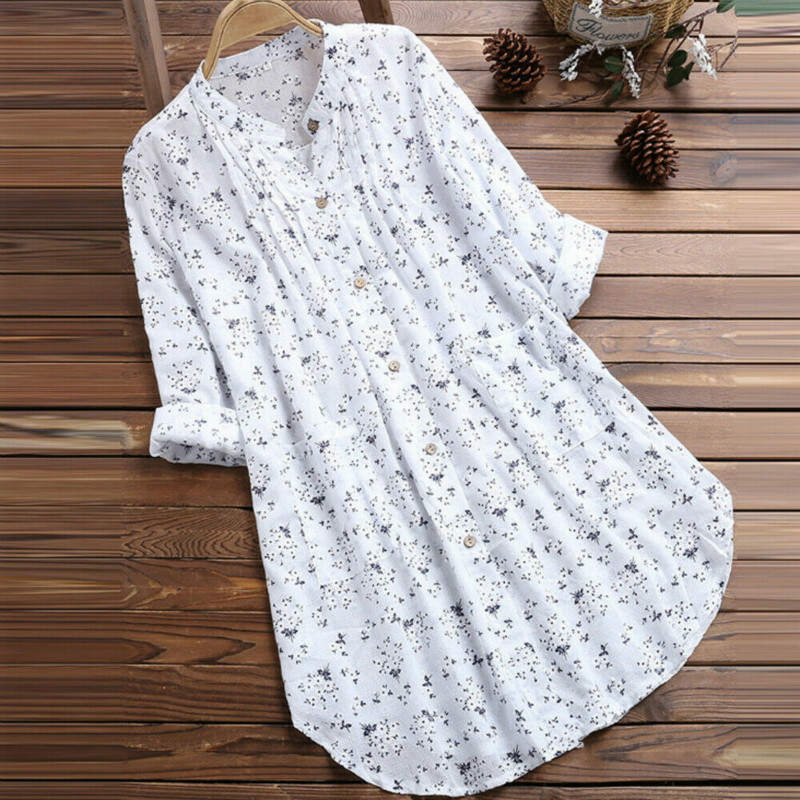 Plus Size Floral Print Blouse Women Summer V Neck Beach Dress Blouses Loose Swim Cover-up Tops Tunic Blouses Shirts Female Tees