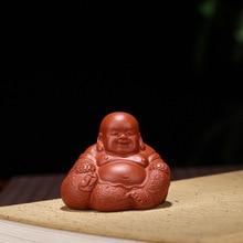 Бутик Фиолетовый глиняный чай питомец Maitreya Будда украшение для чайного подноса аксессуары Подарки чайный стол Maitreya Будда животное Керамические ремесла