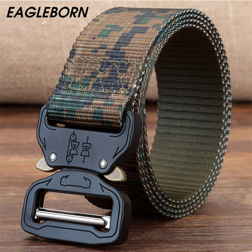 EAGLEBORN Military Equipment Knock Off Army Belt Men's Heavy Duty US Soldier Combat Tactical Belts Sturdy Nylon Waistband 3.8cm