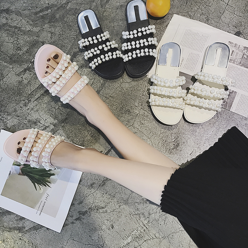 02048eea3e170 CBJSHO Summer Slippers Women Floor Soft Home Female Cute Pearl Slipper Flat  Shoes Slides Comfortable Beach Slippers Flip Flops-in Slippers from Shoes  on ...